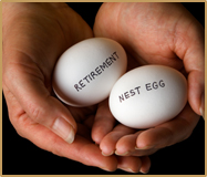 Hands holding eggs that say Retirement and Nest egg